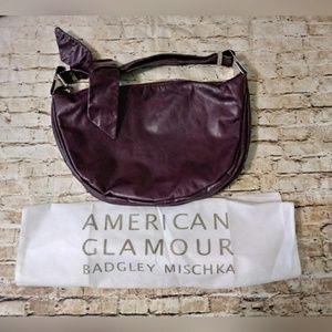 Badgley Mischka Plum Leather Hobo Bag